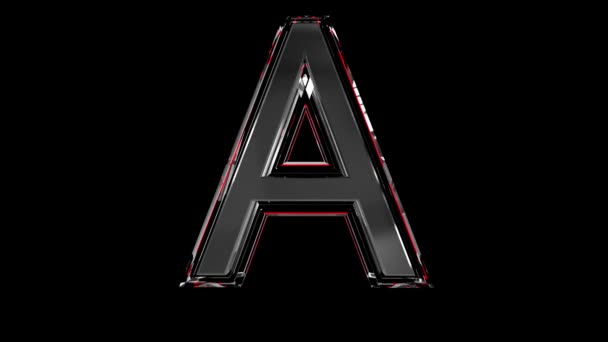 Solid glass font or alphabet red outline and moving reflection for words composing in your jewelry or gems conceptual videos - letter A isolated on black background, 60FPS 4K UHD 3D animation