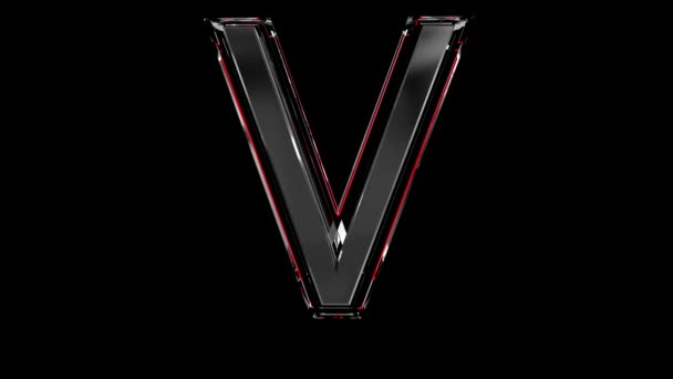 Solid glass font or alphabet red outline and moving reflection for words composing in your jewelry or gems conceptual videos - letter V isolated on black background, 60FPS 4K UHD 3D animation