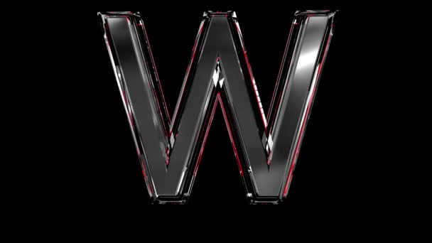Solid glass font or alphabet red outline and moving reflection for words composing in your jewelry or gems conceptual videos - letter W isolated on black background, 60FPS 4K UHD 3D animation