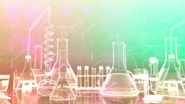 Reagenzgläser und andere Laborgläser scrollen nahtlos in bunten Schleifen mit digitalen Effekten, modernem Chemiekonzept oder wissenschaftlichem Hintergrund - 60FPS 4K UHD 3D loopable Animation