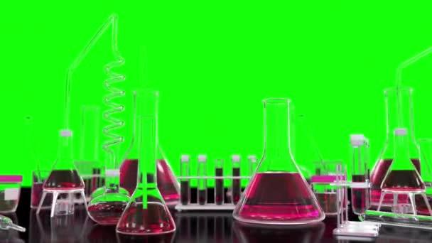 Tesztcsövek és egyéb laboratóriumi üvegáruk görgetés zökkenőmentes hurkot zöld, orvosi kovid vakcina háttér - 60FPS 4K UHD 3D hurok animáció