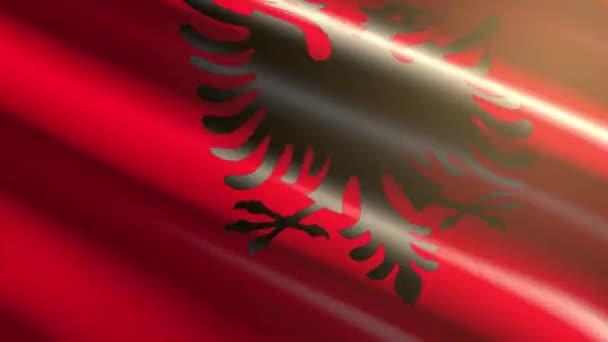 60FPS bright shiny velvet Albania flag  waving background, 3D UHD 4k seamless loopable animation