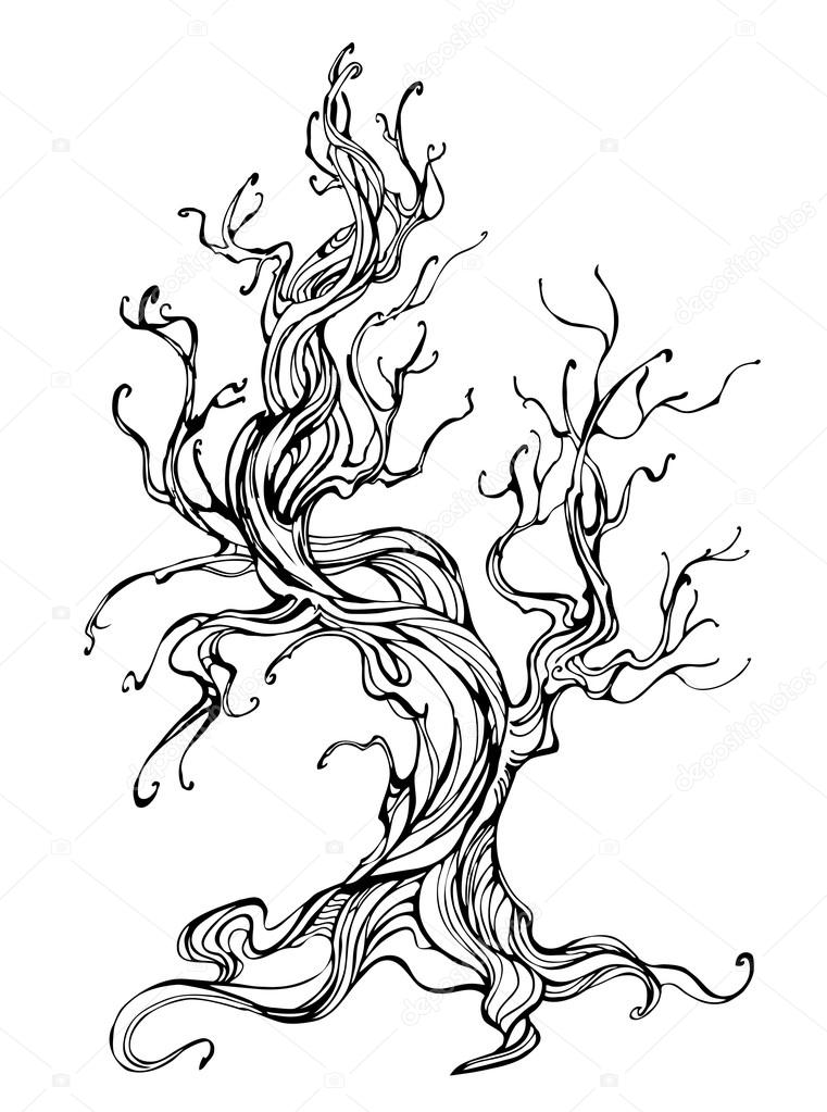 Contour of the old tree stock vector blackmoon979 - Dessin contour ...
