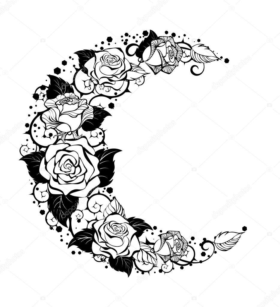 La Media Luna De Rosas Contornos Archivo Imágenes Vectoriales