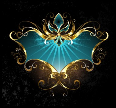 Turquoise banner with gold lily on a dark background clip art vector