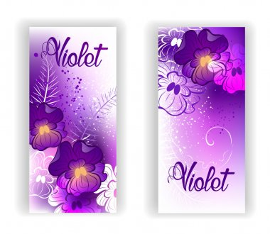 Banner with bright violets