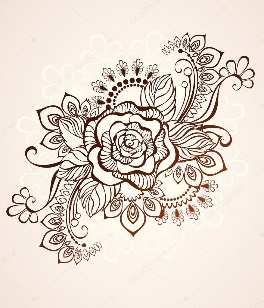 Rose Painted With Henna Stock Vector C Blackmoon979 94498130