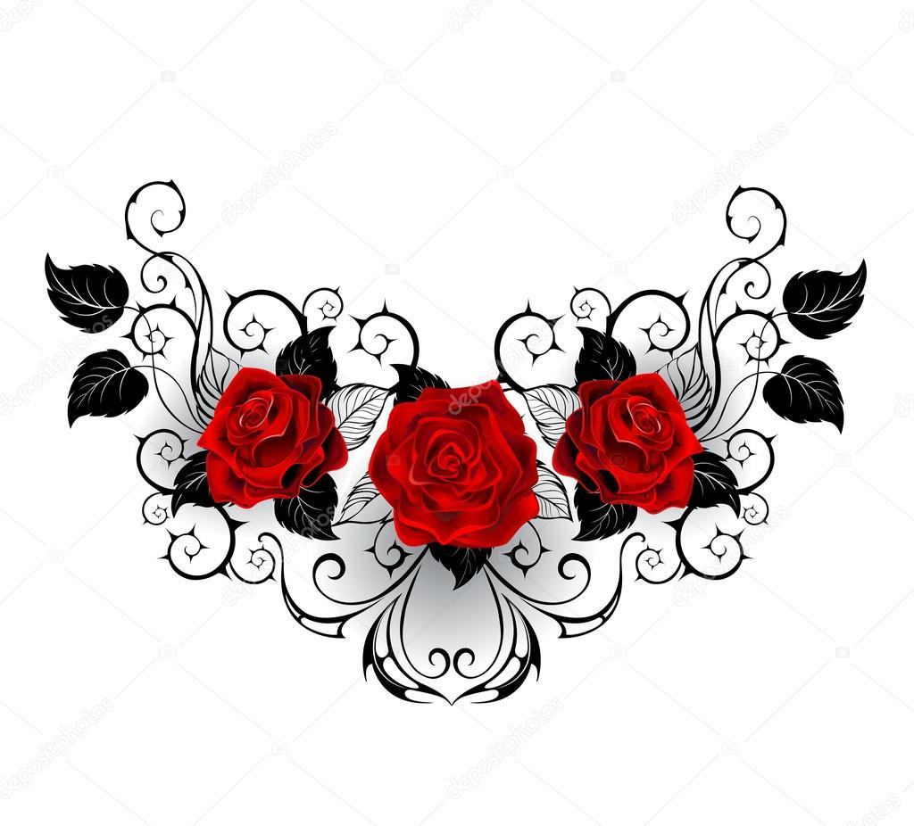 Rosas Rojas Para Tatuajes Tatuaje Simétrico De Rosas Rojas