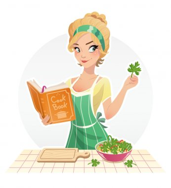 Beautiful girl cook food with cookbook