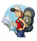 Dívka turistický batoh a mapa