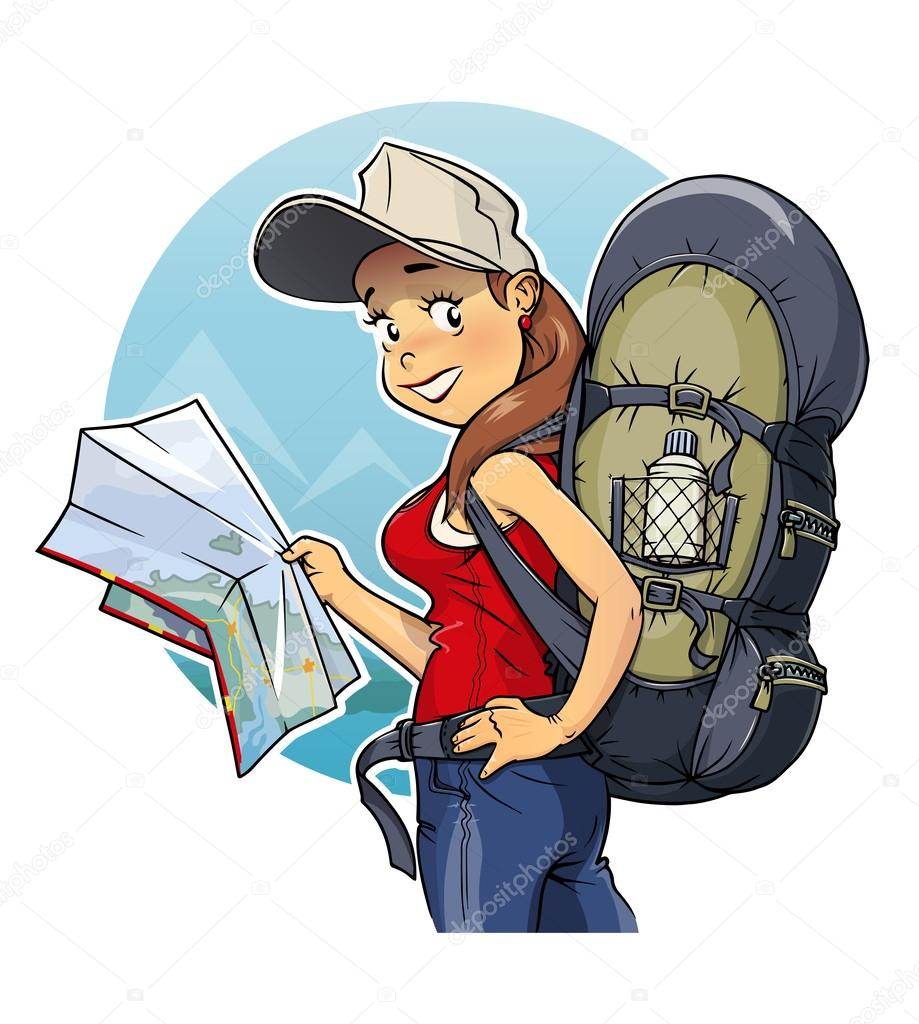 Tourist girl with rucksack and map