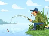 Rybář s tyčinkou rybaření na řece