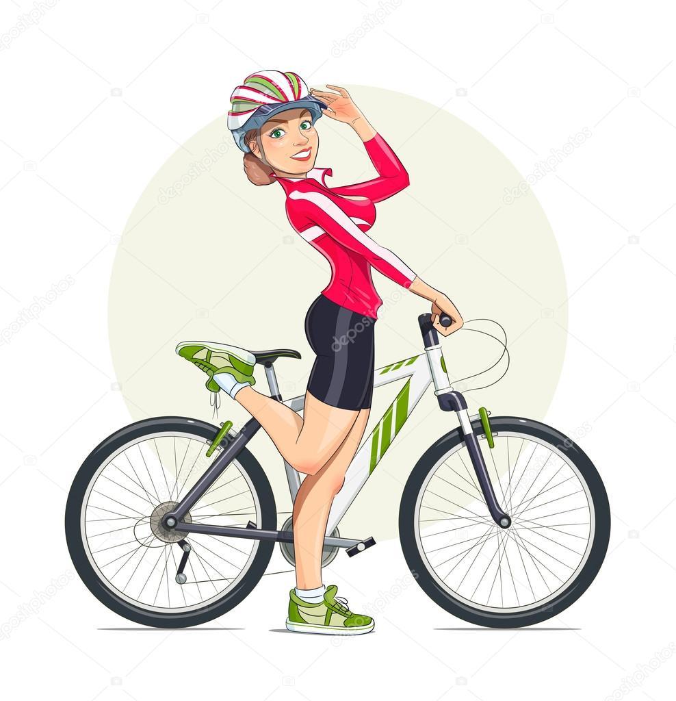 Beautiful girl in helmet with mountain bike. Sport.