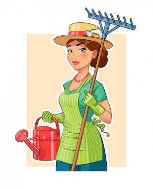 Gardener girl with rake and watering can. Eps10 vector illustration. Isolated on white background stock vector