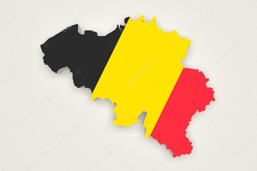 3d rendering of belgium map and a flag on the background photo by erllre
