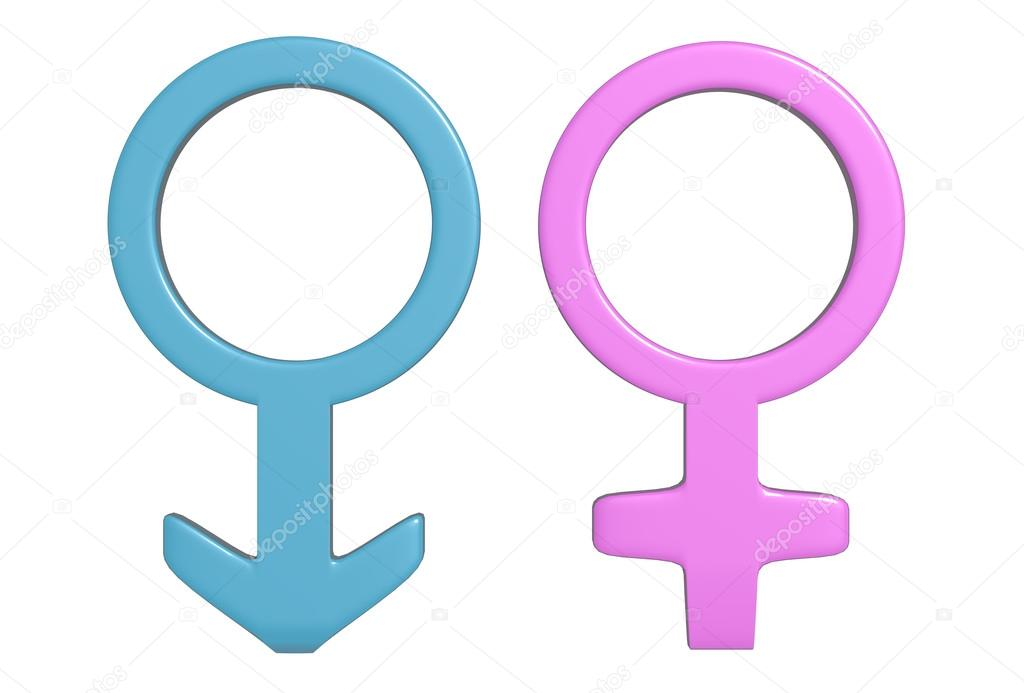 Two Pink And Blue Symbols Of Men And Women Stock Photo Erllre