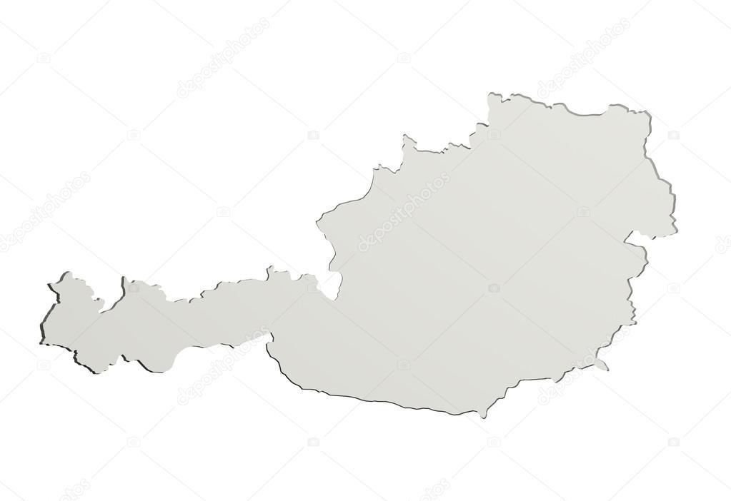 3d Karte Osterreich.3d Rendering Einer Osterreich Karte Auf Weissem Hintergrund
