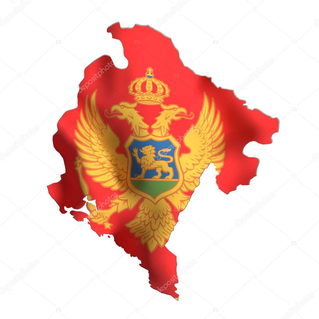 Silhouette Of Montenegro Map With Flag Stock Photo Erllre - Montenegro map download