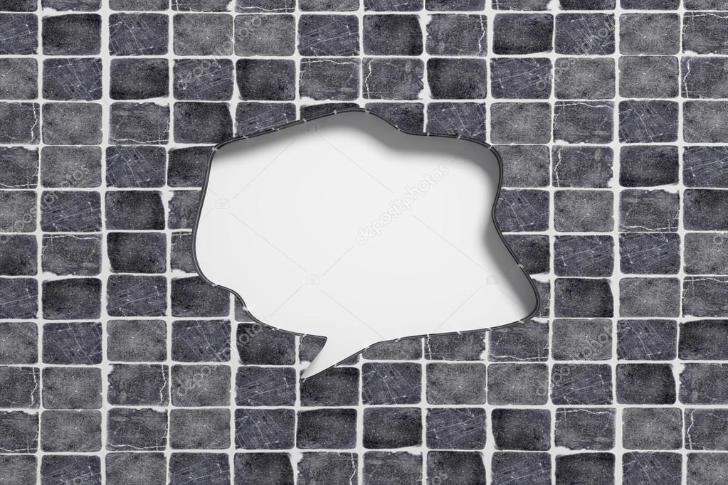 3d bolla di discorso intagliato in mattonelle di ceramica u2014 foto