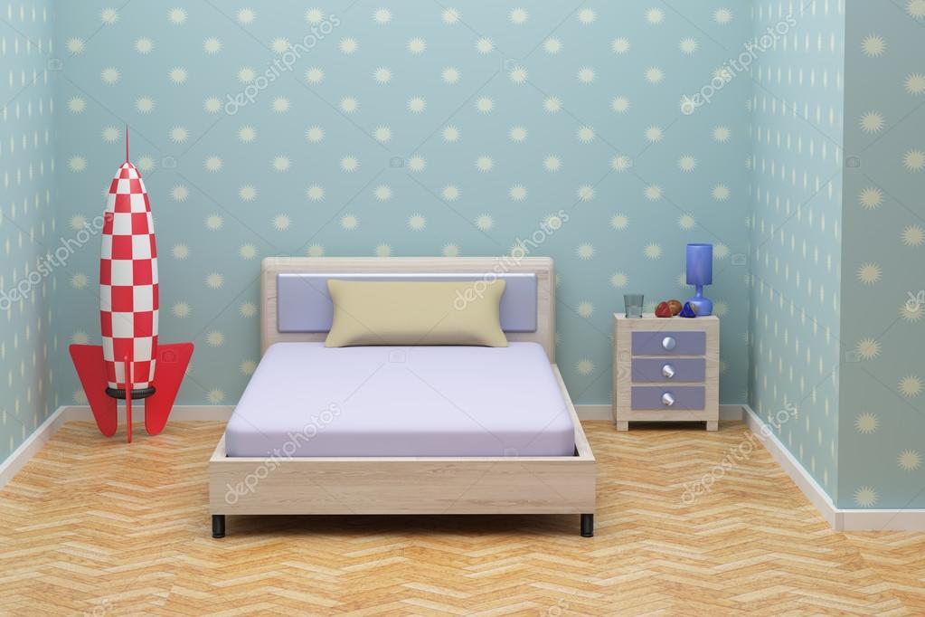 rendu 3D d\'une chambre d\'enfant bleu — Photographie erllre © #90228866