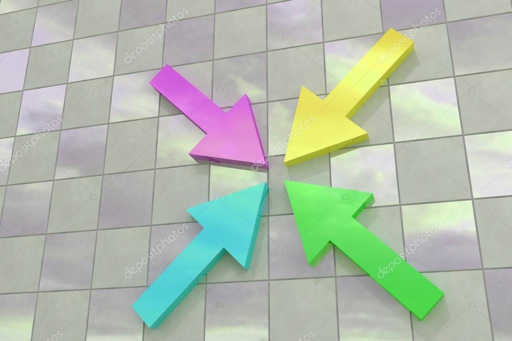 Render 3D de unas flechas de colores sobre un piso de baldosas ...