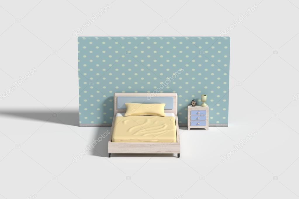 Schlafzimmer Interieur In Den Farben Weiß Blau Und Gelb Stockfoto