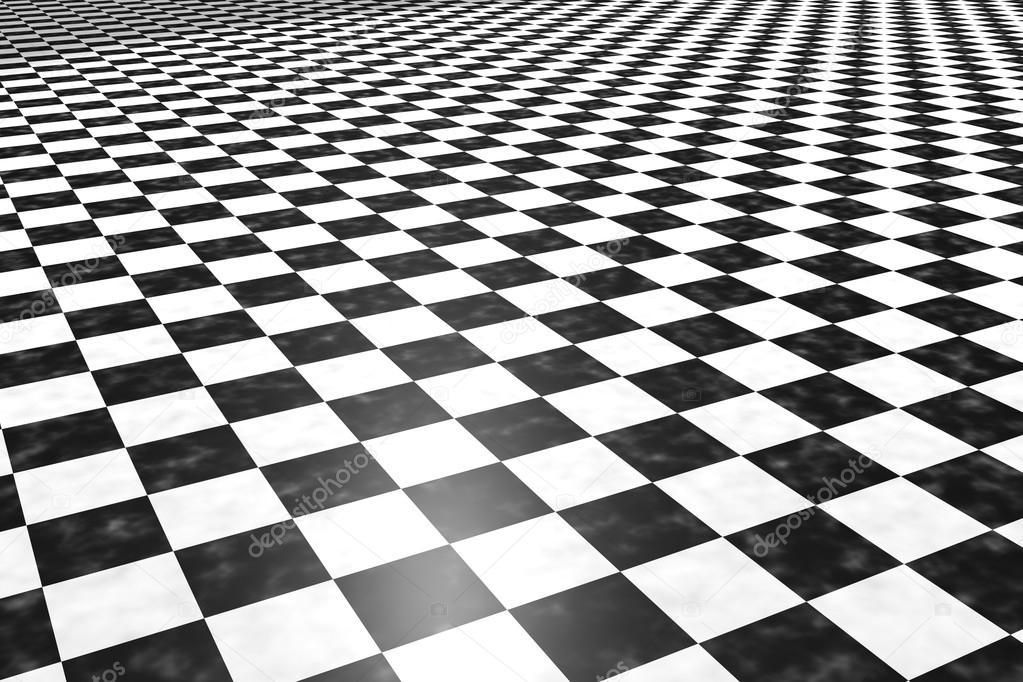 3d Render Bir Kare Siyah Beyaz Fayans Zemin Stok Foto
