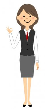A woman in uniform giving an OK sign/It is an illustration of a woman in uniform signing OK.