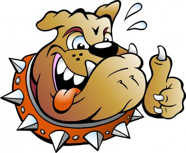 Vector Cartoon illustration of an excited Bull Dog giving Thumb Up