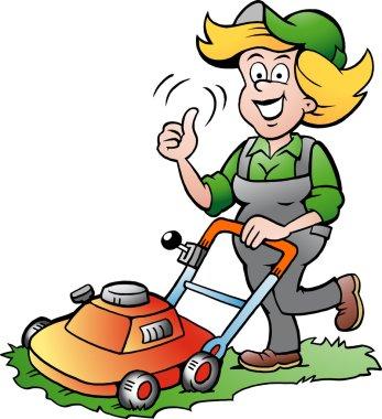 Cartoon illustration of a Handy Gardener Woman riding on a Lawnmower