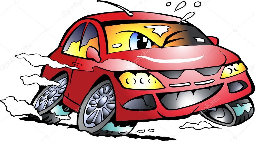 Vector illustration de dessin anim d 39 une mascotte de - Course de voiture dessin anime ...