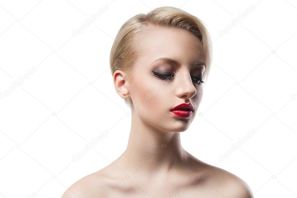 Schöne Junge Model Mit Blonden Kurzen Haaren Und Roten
