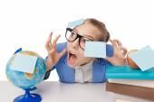 Fotografie müde Schüler Mädchen mit Büchern und Post-It-Zettel