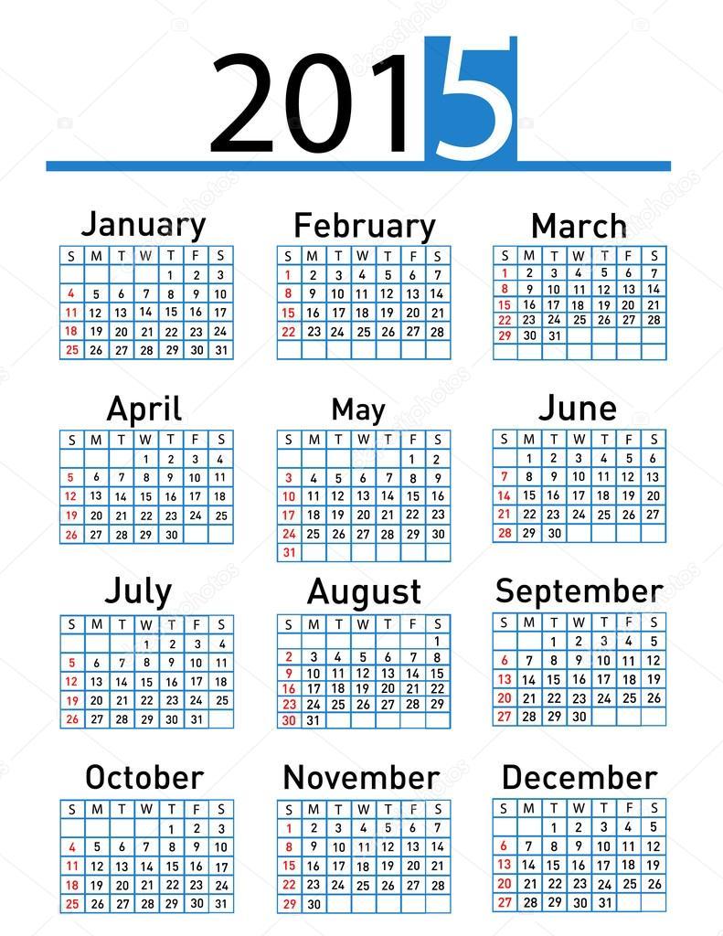 Calendario Anno 2015.Calendario Anno 2015 Foto Stock C Nezezon 55990207