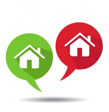 Speech Bubbles With Home Icons