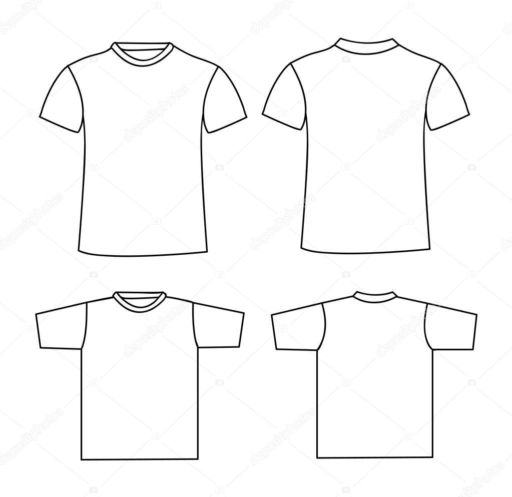 plantilla en blanco de la camiseta. parte delantera y trasera ...
