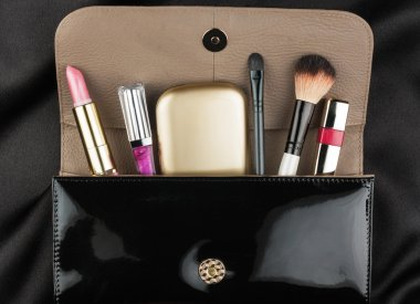 Black patent leather bag  with cosmetics