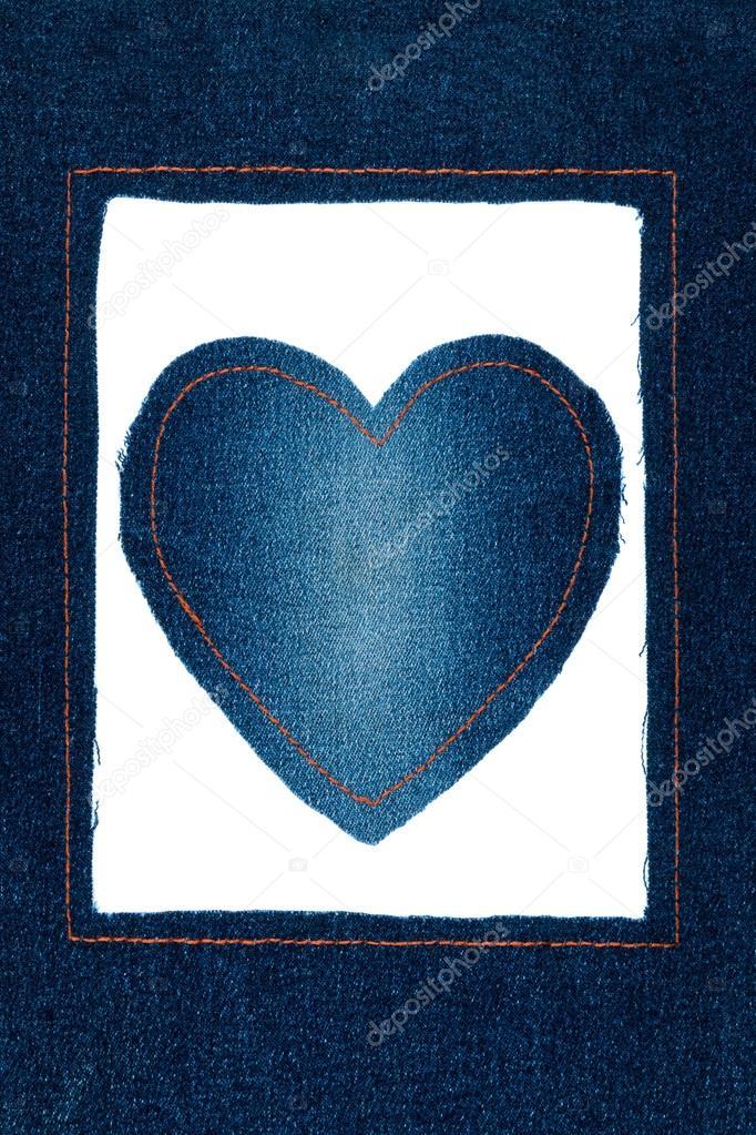 Symbolische Herz und Rahmen aus jeans — Stockfoto © alekleks #86939550