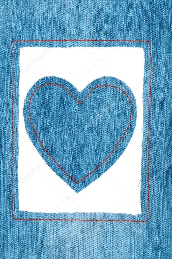 Symbolische Herz und Rahmen aus jeans — Stockfoto © alekleks #86939584
