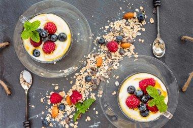 Natural yogurt with fresh berries and muesli, cereal, top view,