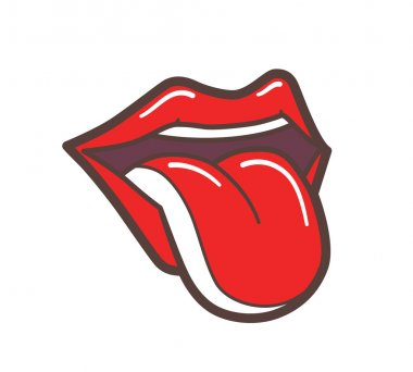 Open Mouth With Red Lips and Tongue Sticking Out