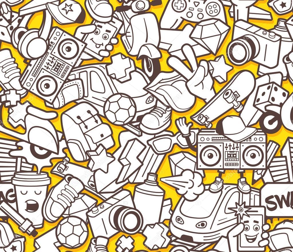 Patrón sin fisuras graffiti para adultos para colorear libro ...