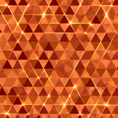 Abstract geometric vector background with glowing triangles.