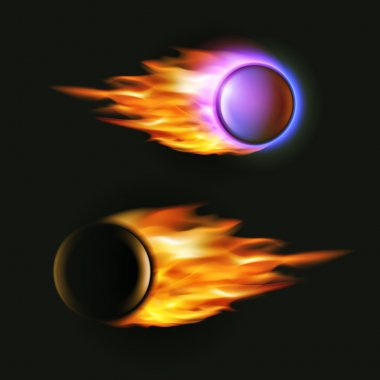 Vector fireball on black background. Flying projectile