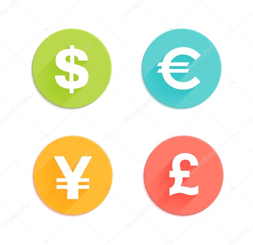 Dollar euro pound and yen currency flat icons stock vector dollar euro pound and yen currency flat icons stock vector biocorpaavc Gallery