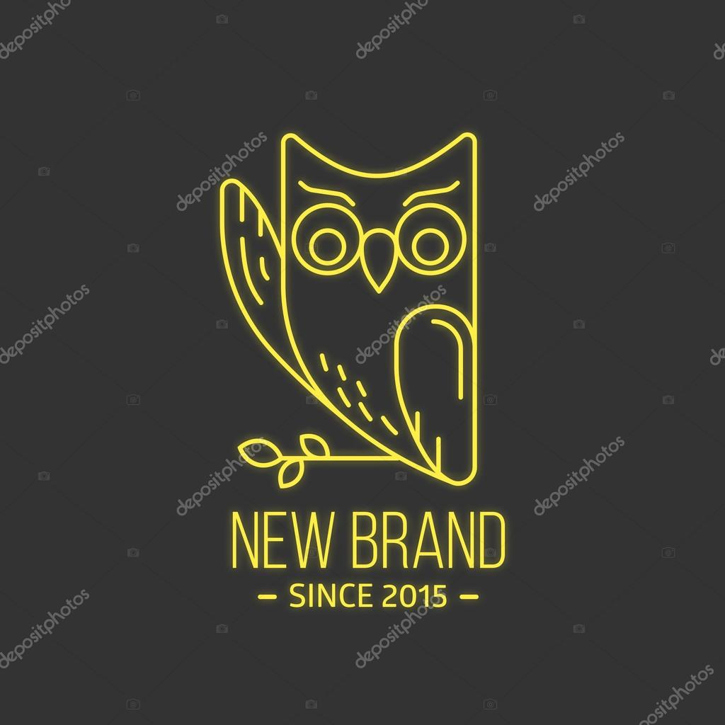 Vintage owl logo in thin line style