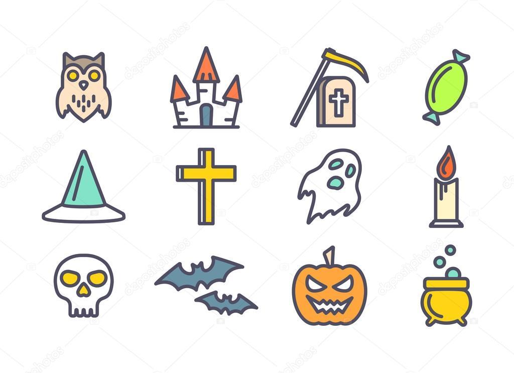 Icônes Vectorielles De Contour Définie Pour Halloween
