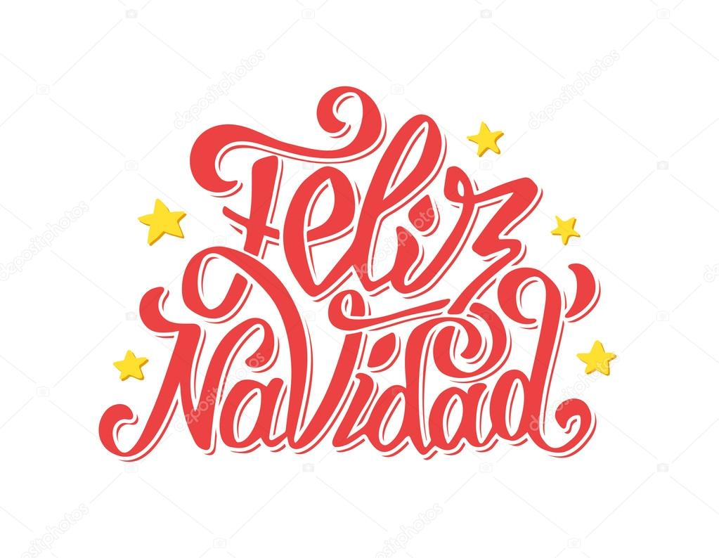 Feliz navidad lettering merry christmas greetings stock vector feliz navidad lettering for invitation prints and greeting cards merry christmas greetings in spanish language hand drawn calligraphic inscription for m4hsunfo