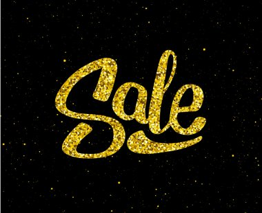 Christmas Sale gold glittering lettering design