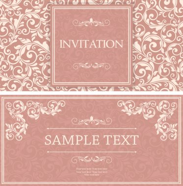 set of antique greeting cards, invitation with victorian ornamen